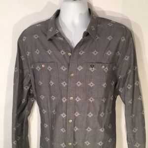 True religion men's Gray button down shirt XL